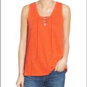 Sanctuary Lace Up Linen Tank